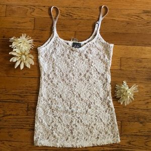 Lace See Through Floral Tank